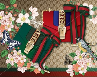 Fashion poster, Gucci sylvie bag, fashion print, fashion illustration, Handbag illustration, fashion graphic, wall art, interior deco