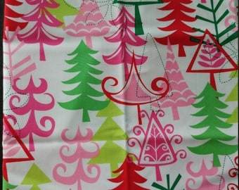 Michael Miller Yule Trees Whimsical Kitschy Pink Red Green Cotton Christmas 3/4 yd Sewing Quilting Crafting Fabric