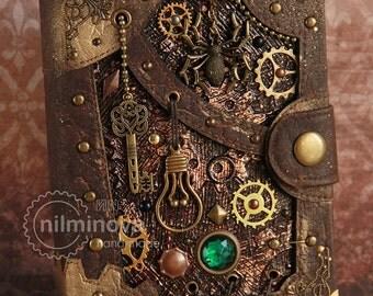 """Steampunk notebook A6 blank journal diary """"Cellar Spirit"""""""