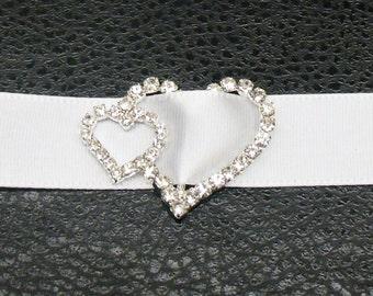 Double heart Rhinestone Buckle ~ Rhinestone Slider ~ Invitation Embellishment ~ Wedding Invitation ~ Crystal Buckle