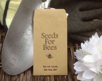 10 x Personalised Wedding Favour Seed Packets  - 'Seeds For Bees - Bumble Bee'