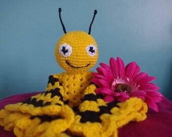 Handmade Crochet Bumble Bee Baby Cuddle Blanket