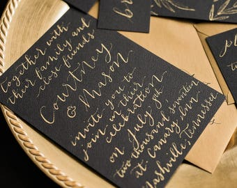 Hand Lettered | Calligraphy | Wedding Invitation | Black Tie | Gold Calligraphy | Formal Wedding | Stationery Design | Stationery