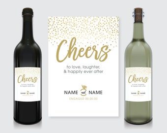 Cheers! Engagement Wine Bottle Label