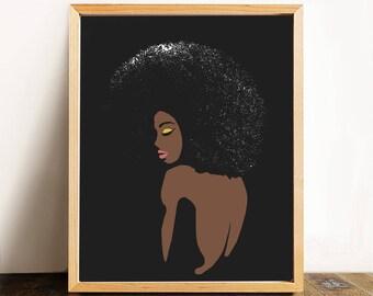 "Fashion Illustration- Minimalist Wall Art, Feminist Pop Art---""Striking"""