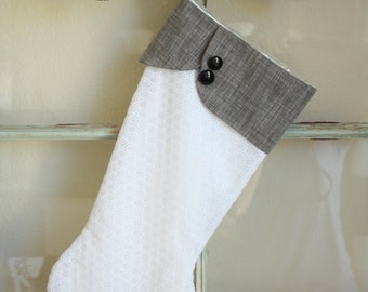 White and Gray Stocking Double Buttons