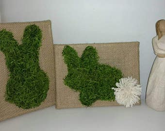 Burlap Spanish Moss Bunny Set of 2