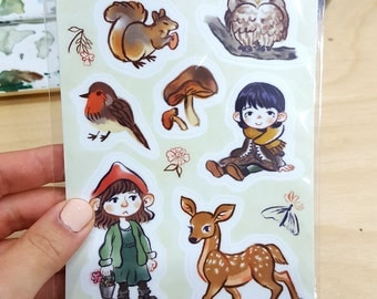 SALE - Forest Girl Illustrated Sticker Sheet