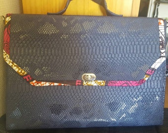 Faux leather satchel and African fabric