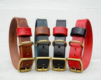 Personalised Bridle Leather Dog Collar - Monogram Series