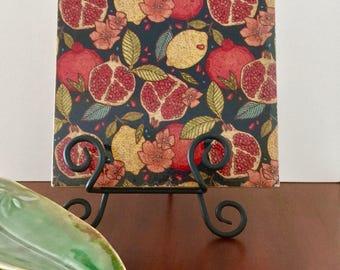 Pomogranate and Lemon Trivet or Art Block