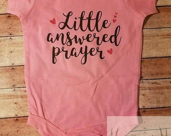 Little Answered Prayer Bodysuit, Infant, Baby Clothes, New Baby, Baby Shower, Rainbow Baby, Vinyl, Custom, Creeper, One Piece, Personalized