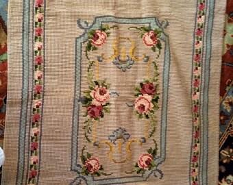 Vintage Handmade Needlepoint Rug 3 1/2' by 2 1/2'