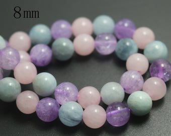 8mm Natural Dream Purple Crystal Quartz Round Beads,Smooth and Round Stone Beads,15 inches one starand