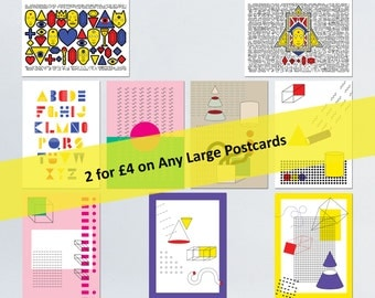 Large Postcard Deal | Buy any 2 original Large Postcards for 4 GBP | Postcard Pack, Colourful Postcards, Cool Postcards, Abstract Postcards