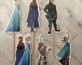 Frozen Cupcake Picks Toppers Cake Decorations Kids Novelty Birthday Party Supplies