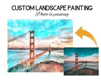 Custom Landscape Painting, Photo to landscape, photo to art, photograph, San Francisco art, city art, city photo art, custom acrylic art