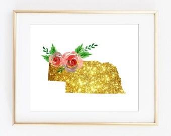 Nebraska art, Nebraska printable, NE art print, NE printable, NE floral gold art, ne artwork, 8x10 ne art, 11x14 ne art, printable state