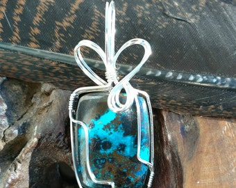African Azurite / Wire Wrapped Pendant / Handmade Jewelry / Rectangle Cabochon