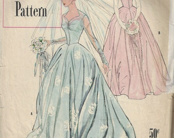 1950 Vintage Sewing Pattern B34 BRIDAL GOWN & BRIDEMAIDS Dress (1763)