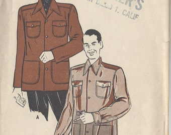 "1940s Vintage Sewing Pattern MEN'S JACKET C38""-40"" (R266) Butterick 4000"