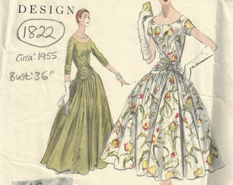 1955 Vintage VOGUE Sewing Pattern B36 One-Piece Dress (1822) By VOGUE 850