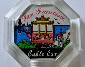 San Francisco Cable Car Refrigerator Magnet, Clear Octagon Shape, 2 Inch Fridge Magnet, Pink Cable Car, Kitchen Kitsch