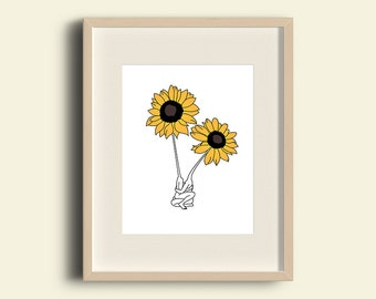 PRINT, grow together, sunflower, ilustration, picture, minimalist, decoration, home