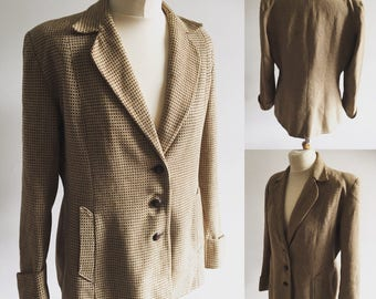 Vintage 1940's Camel Check Tailored Blazer - UK Size 16/US Size 12