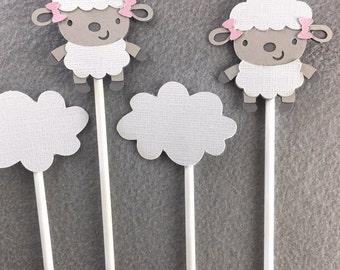 Little lamb,cupcake toppers,little kamb baby shower,girl baby shower,its a girl,lamb baby shower,lamb