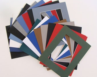 """Lot of Mats for 8 x 10"""" Frames 18 Matboards with Openings of 4 7/8"""" x 6 7/8"""" Variety of Colors, Archival Quality Acid & Lignin Free"""