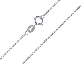 """14K Solid White Gold Singapore Necklace Chain 1.1mm 16-24"""" - Diamond Cut Link"""