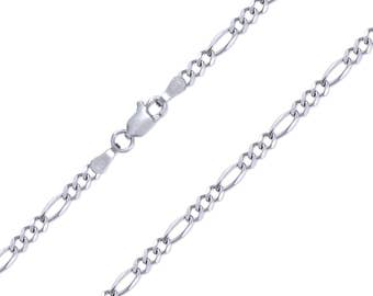 """14K Solid White Gold Figaro Necklace Chain 3.0mm 16-26"""" - Polished Link"""