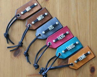 6 Leather Luggage Tags ~ Metal Font ~ Personalized ~ Initials or Name ~ 6 Tags ~