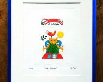 Kiki Suarez Etched Litho, Kiki Suarez art, Kiki Suarez Painting, Modern Art, Mexican Art, Pop Art, Kiki Suarez