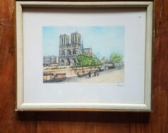 Vintage French Paris Watercolor Print signed Garino Notre Dame