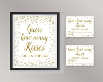Guess How Many Kisses in the jar, Gold confetti Bridal Shower Games, Guessing Game, Wedding, Engagement, Baby Shower, Bachelorette Activity