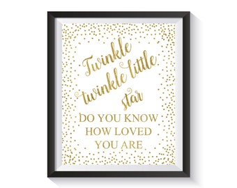 Twinkle twinkle little star, Baby Shower Sign, Gold Confetti Baby Birthday Printable, Kid's Party Decoration, Nursery decor, Kids room art