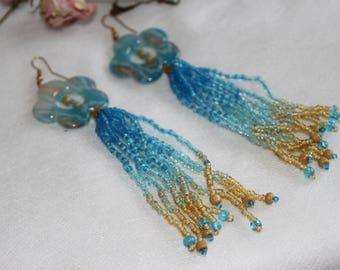 Long flower earrings, big blue yellow earrings, flower tassel earrings, bright fringe, Ukrainian national colors jtwelry