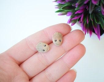 Fimo handmade earrings inspired by Baby Groot