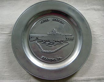 Outer Station Reading Railroad Pewter Commemorative Plate, Kiwanis Club, Reading PA, 1979 Limited Edition