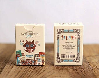 Stickers Nacoo Cat 48 piece set in assorted designs vintage style