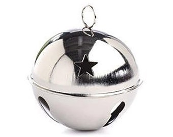 1 Silver Jingle Bell, 80mm (3.15 Inches), with Star Cutouts