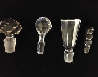 4 Vintage Clear Glass Stoppers