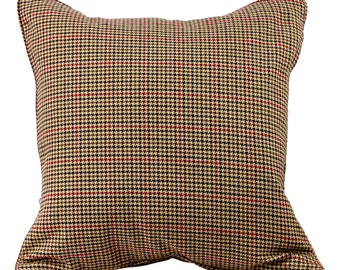 Brown Houndstooth 20 Inch Decorative Pillow -  Lumbar Pillow Cover