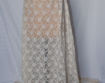 Cream lace sheer skirt with long train - wedding