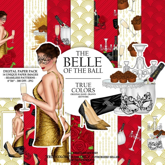 Belle of the ball Digital Paper Pack Ball Girl Fashion Illustration Planner Stickers Supplies Seamless Champagne Red Watercolor Background