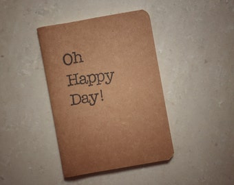 Oh Happy Day! Notebook | Perfect Wedding Favour | A6 size Kraft Notebook