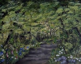 """Paint landscape """"Forest path"""" acrylic"""