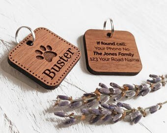 Custom Engraved Pet Tags Dog ID Tag - Personalised Pet Tag Cat ID Tag - Gift For Animal Lovers - Walnut Wood Pet Tags - Gifts For Pet Owners